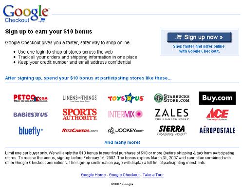 Google Checkout Promotion