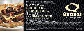Quiznos Sub coupon