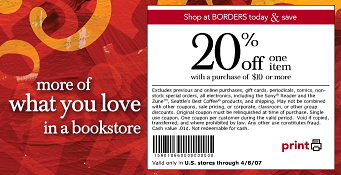 Borders Coupon 20% off