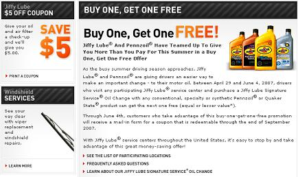 Jiffy Lube Oil Change >> Jiffy Lube Oil Change Coupon Promotion At Probargainhunter Com