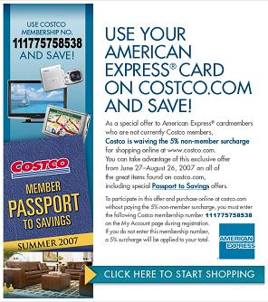 Costco and Amercian Express promotion