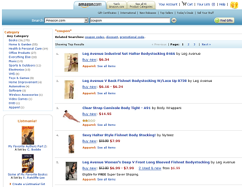 Amazon search results for coupon