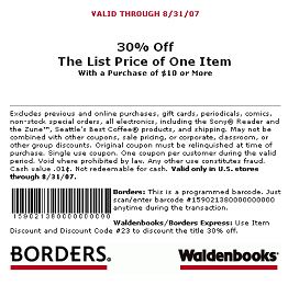 Borders 30% off printable coupon