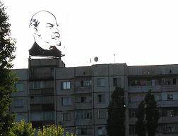 Lenin on top of a building in Ukraine