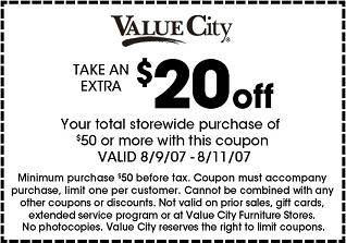 Value City Furniture Promo Codes & Cyber Monday Deals for November, Save with 7 active Value City Furniture promo codes, coupons, and free shipping deals. 🔥 Today's Top Deal: Save 33% Off On Jett 6-Piece Dual Power Reclining Right-Facing Sectional With Chaise - Gray. On average, shoppers save $27 using Value City Furniture coupons from interactivebest.ml5/5(5).