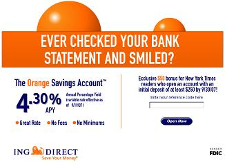 ING Direct $50 Signup Bonus