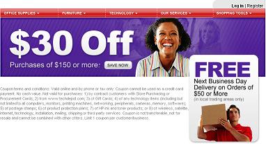 OfficeDepot $30 off $150 coupon