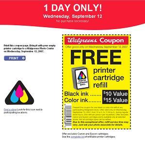 Free Ink Refill at Walgreens