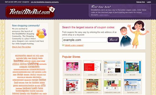 RetailMeNot Frontpage