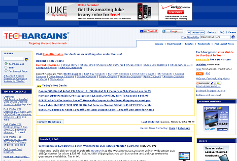 TechBargains home page