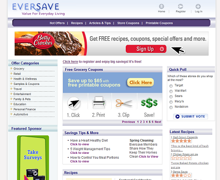 Eversave frontpage