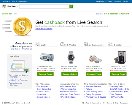 live search cashback screenshot