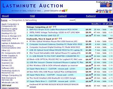 lastminute auctions screenshot