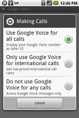 Android Google Voice Settings